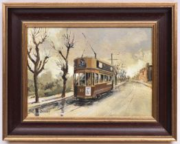 An oil painting on board, possibly of a Brighton tram, No.80 by Roy Adams. Signed in the bottom left