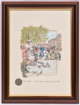 Roger Clarke, ink and watercolour drawing. Feeding Pigeons, Trafalgar Sq. London, 1956. Signed on
