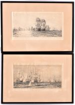 W. Wylllie, 2x Men o' War etchings of 19th Century naval battles. Both signed in the lower left