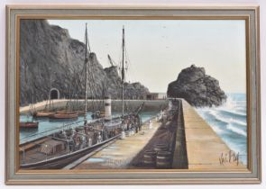 An oil painting on canvas of a harbour scene by the Cornish artist Kevin Platt. A late 1800's