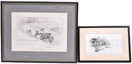 2x David Shepherd signed transport related prints of pencil sketches. Both well framed and