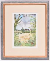 Janet Beckett, watercolour. 'A glimpse of Langham'. Signed and titled. Approx dimensions in frame