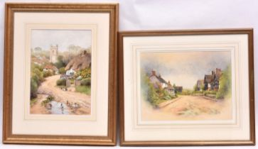 Christopher Hughes, 2x watercolours. Cropthorne village scene. Together with a village scene with