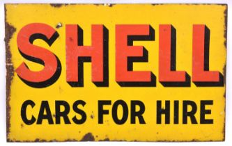 An enamel advertising sign with 'Shell Cars For Hire' on a yellow background to both sides. QGC,