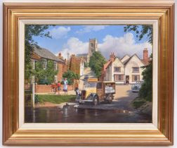 Malcolm Root, oil painting on canvas. A village scene with a Trojan milk float and Austin