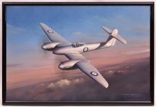 A superb oil painting on canvas of a Westland Whirlwind prototype aircraft by the aviation artist
