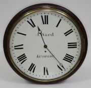 """A Victorian mahogany cased wall clock, the 16"""" dial painted with Roman numerals and signed J. Ward"""