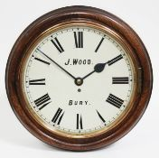"""A late Victorian oak cased wall clock, the 14"""" dial painted with Roman numerals and signed J. Wood"""