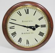 """A Victorian mahogany cased wall clock, the 14"""" dial with Roman numerals and signed Roberts Barmouth,"""