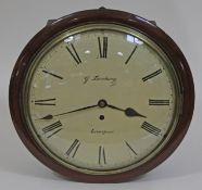 """A mid 19th century mahogany cased wall clock, 12"""" convex dial with painted Roman numerals and signed"""