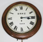 """An oak cased British Rail North Eastern Region wall clock, 12"""" re-painted dial, marked 'BR(NE) -"""
