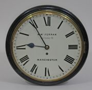 """A mid 19th century ebonised wall clock, 12"""" dial painted with Roman numerals and signed W. McFerran,"""