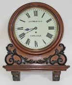 """A late 19th century oak cased wall clock, 12"""" dial with Roman numerals and signed J.A. Wheatley,"""