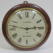 """A Victorian mahogany cased wall clock, the 13"""" convex dial painted with Roman numerals and signed"""