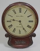 """A 19th century mahogany cased drop dial wall clock, the 12"""" dial with painted Roman numerals and"""