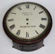 """A 19th century fusee wall clock, the 10"""" convex dial signed 'Keeling 5 Webber St Blackfriars"""