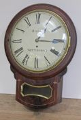 """A 19th century brass inlaid mahogany drop dial wall clock, 12"""" convex dial with painted Roman"""