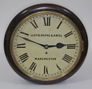 """A 19th century mahogany cased wall clock, 12"""" dial with painted Roman numerals, signed Lloyd,"""
