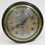 """An early 19th century ebonised wall clock, brass bezel with domed glass, 9"""" steel dial engraved with"""