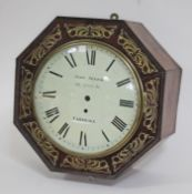 A 19th century brass inlaid rosewood wall clock case of octagonal form and dial signed John Seyer