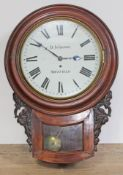 """A 19th century mahogany drop dial wall clock, the 12"""" dial signed D Johnson Sheffield, brass four"""