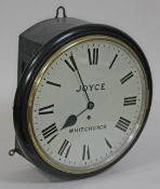 """A mid 19th century ebonised wall clock, 12"""" dial painted with Roman Numerals and signed """"Joyce"""