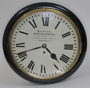 """A 19th century ebonised mahogany cased wall clock, the 12"""" dial painted with Roman numerals and"""