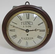 """A late 19th century mahogany cased wall clock, brass bezel with domed glass, 10"""" convex dial painted"""