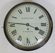 """A 19th century mahogany cased wall clock, 12"""" painted dial with Roman numerals and signed G."""