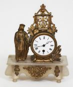 A French gilt spelter and alabaster mantel clock, height 29cm.