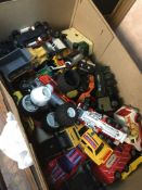A box of die-cast toys to include Matchbox, Corgi, etc. Live bidding available via our website, if