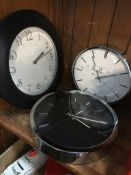 Three quartz wall clocks Live bidding available via our website, if you require P&P please read