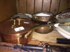 Copper and brass pans Live bidding available via our website, if you require P&P please read