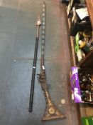 A middle eastern inlaid rifle and a spear Live bidding available via our website, if you require P&P