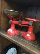 Vintage scales and weights Live bidding available via our website, if you require P&P please read