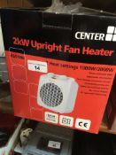 Two boxed fan heaters Live bidding available via our website, if you require P&P please read