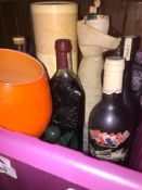A box of spirits, some empty bottles, an orange large glass / goblet, etc. Live bidding available