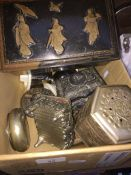 A small box of tins, trinket boxes etc Live bidding available via our website, if you require P&P
