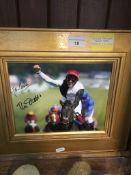A golden horn racing photograph signed by Frankie Dettori & John Gosden Live bidding available via