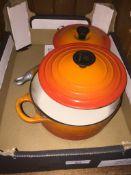Le Creuset Volcanic Orange saucepan & casserole dish Live bidding available via our website, if