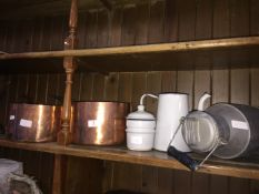 A small galvanised milk churn, 2 enameled items and 2 large copper pans.