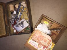 2 boxes of sewing / haberdashery items.
