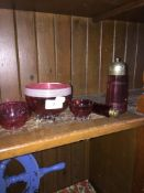 5 cranberry glass pieces