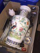 Box of ceramics inc large vase