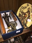 A box of miniature cannons, ornaments and a terracotta plate depicting erotic scene.