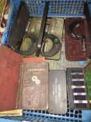 A quantity of engineers Metric & Whitworth thread measuring parrallels and micrometers and books.