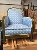 A French stained pine framed armchair