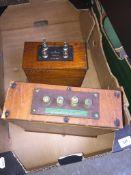 2 vintage wooden resistors