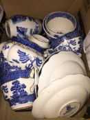 A box of blue and white china