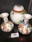 Small pair of Chinese Canton porcelain vases - one chipped